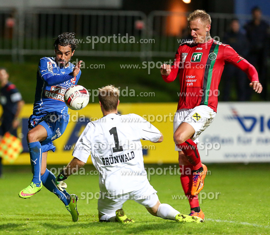 17.10.2014, Sportplatz FAC, Wien, AUT, 2. FBL, Floridsdorfer AC vs FC Wacker Innsbruck, 14. Runde, im Bild Mirnel Sadovic (Floridsorfer AC) , Pascal Gruenwald (FC Wacker Innsbruck) und Zeljko Djokic (FC Wacker Innsbruck) // during Austrian Football Second Bundesliga Match, 14th round, between Floridsdorfer AC and FC Wacker Innsbruck at the Sportplatz FAC, Vienna, Austria on 2014/10/17. EXPA Pictures © 2014, PhotoCredit: EXPA/ Alexander Forst
