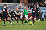 27th August 2017, Dens Park, Dundee, Dundee; Scottish Premier League football, Dundee versus Hibernian; Hibernian's Dylan McGeouch battles for the ball with Dundee's Cammy Kerr and Paul McGowan