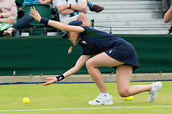 LONDON, ENGLAND - Monday, July 4, 2016:  Ball girl during the Ladies' Single 4th Round match on day eight of the Wimbledon Lawn Tennis Championships at the All England Lawn Tennis and Croquet Club. (Pic by Kirsten Holst/Propaganda)