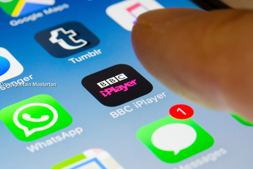 BBC iPlayer tv streaming service app close up on iPhone smart phone screen