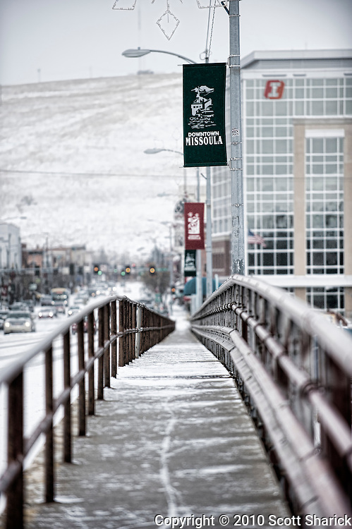 This is the coldest part of my walk into town. The Higgins Street Brdge over the Clark Fork River opens me up to any kind of weather Hellgate Canyon wishes to dish out. Missoula Photographer, Montana Photographer, Pictures of Missoula, Montana Photos