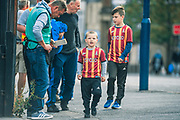 A young Bradford City supporter arriving at the Utilita Energy Stadium before the EFL Sky Bet League 2 match between Bradford City and Northampton Town at the Utilita Energy Stadium, Bradford, England on 7 September 2019.