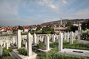 Sehidsko Kovaci cemetery, where Bosnian soldiers who died in the 1990s Yugoslav War are buried, Sarajevo, Bosnia and Herzegovina. Picture by Manuel Cohen