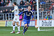 Cardiff City midfielder, Stuart O'Keefe (22) celebrates scoring his teams 2nd goal, 2-0 during the Sky Bet Championship match between Bristol City and Cardiff City at Ashton Gate, Bristol, England on 5 March 2016. Photo by Shane Healey.