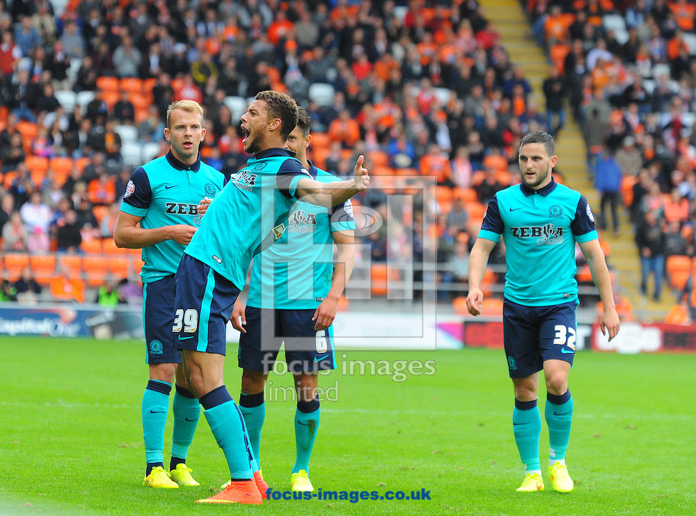 Rudy Gestede of Blackburn Rovers celebrates scoring the opening goal of the match during the Sky Bet Championship match at Bloomfield Road, Blackpool<br /> Picture by Greg Kwasnik/Focus Images Ltd +44 7902 021456<br /> 16/08/2014