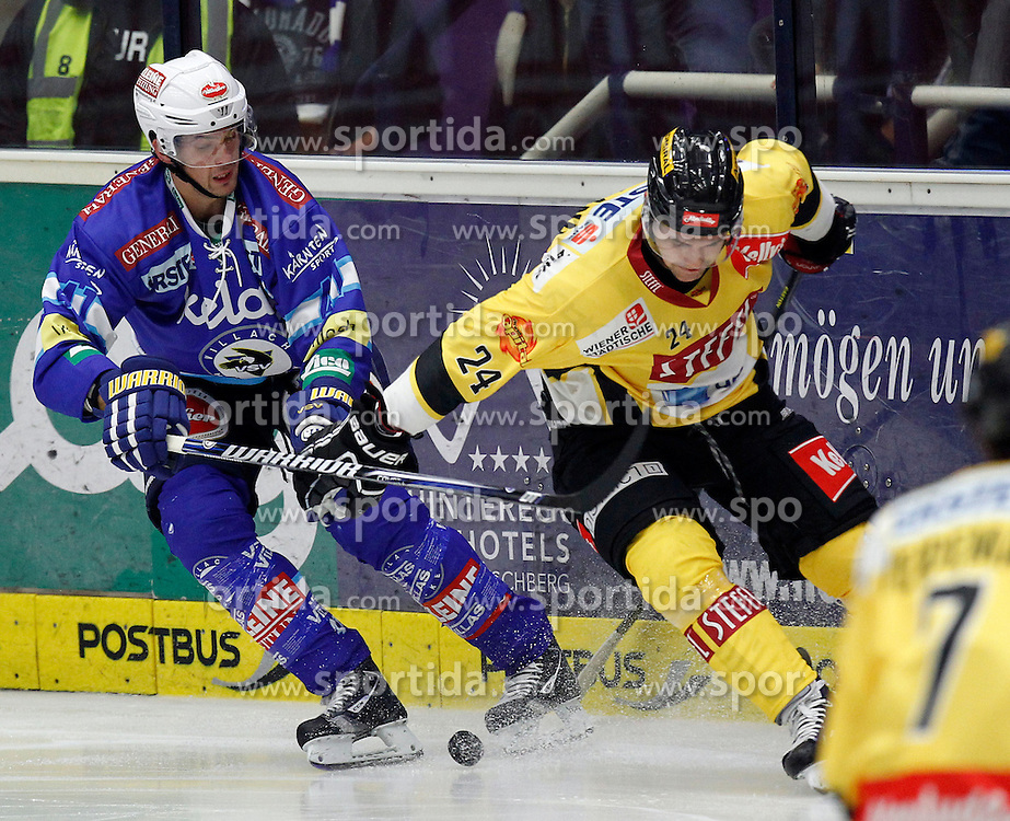 14.09.2012, Stadthalle, Villach, AUT, EBEL, EC VSV vs UPC Vienna Capitals, 03. Runde im Bild Kevin Steiner (VSV;Mario Altmann (VSV,#41) und Jonathan Ferland (Capitals,#24) // during the Erste Bank Icehockey League 03rd Round match between EC VSV and UPC Vienna Capitals at the City Hall, Villach, Austria, 2012/09/14, EXPA Pictures © 2012, PhotoCredit: EXPA/ Oskar Hoeher