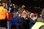 Celebrating Middlesbrough fans during the EFL Sky Bet Championship match between Middlesbrough and Leeds United at the Riverside Stadium, Middlesbrough, England on 2 March 2018. Picture by Paul Thompson.