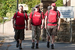 At St Dunstans Centre on Fullwood Road Sheffield, from left to right are Chris Lee,  Billy Black and Charlie Eastwood who are all taking part in the Center2Centre March from Bristol to LLandudno a distance of 327 miles.13th September2011 Image © Paul David Drabble