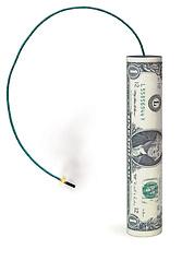 Dollar shaped like a firecracker
