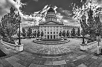 The courtyard of the Salt Lake City, Utah capitol building provides a serene experience in a bustling urban area.
