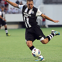 Newcastle United Midfielder Dan Gosling (15)during an International Friendly soccer match between English Premier League team Newcastle United and the Orlando City Lions of the United Soccer League, at the Florida Citrus Bowl on Saturday, July 23, 2011 in Orlando, Florida. Orlando won the match 1-0. (AP Photo/Alex Menendez)