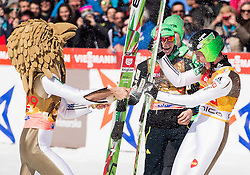Second placed Robert Kranjec (SLO) as Eagle's mascot and winner Peter Prevc (SLO) celebrate with champagne after Ski Flying Hill Individual Competition at Day 4 of FIS Ski Jumping World Cup Final 2016, on March 20, 2016 in Planica, Slovenia. Photo by Vid Ponikvar / Sportida