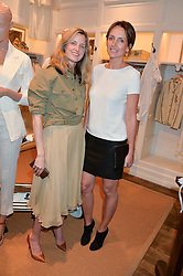 Left to right, AMANDA BROOKS and SAFFRON ALDRIDGE at a party to celebrate the publication of India Hicks: Island Style hosted by Princess Marie-Chantal of Greece, Saffron Aldridge and Amanda Brooks has held at Ralph Lauren, 105-109 Fulham Road, London on 28th April 2015,