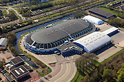 Nederland, Friesland, Heerenveen, 01-05-2013; IJsstadion Thialf, overdekte schaatsbaan, bekend van het langebaanschaatsen..Ice stadium Thialf, covered Icerink .luchtfoto (toeslag op standard tarieven).aerial photo (additional fee required).copyright foto/photo Siebe Swart