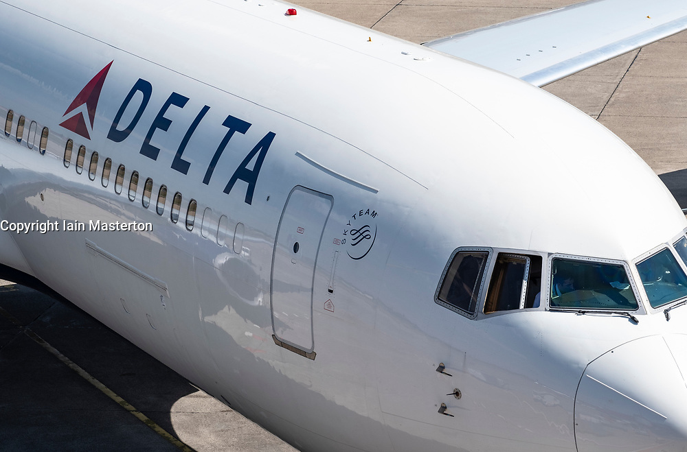 Delta airlines passenger aircraft at Tegel Airport in Berlin, Germany