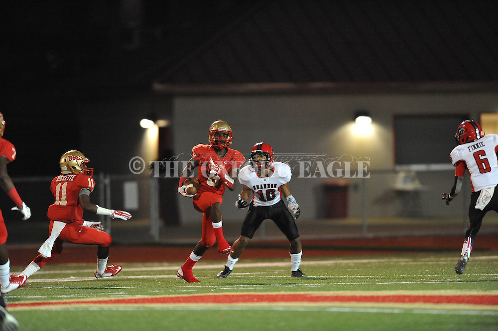 Lafayette High's Allan Mathis (6) intercepts a pass vs. Shannon's Cameron Montgomery (10) in Oxford, Miss. on Friday, September 19, 2014. Lafayette High won 35-0 to improve to 2-3 on the season.