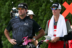 June 22, 2018 - Cromwell, Connecticut, United States - Bubba Watson (L) and his caddie wait on the 9th tee during the second round of the Travelers Championship at TPC River Highlands. (Credit Image: © Debby Wong via ZUMA Wire)
