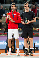 Andy Murray (right) and Novak Djokovic during the final of the Madrid Open at Manzanares Park Tennis Centre, Madrid<br /> Picture by EXPA Pictures/Focus Images Ltd 07814482222<br /> 08/05/2016<br /> ***UK &amp; IRELAND ONLY***<br /> EXPA-ESP-160509-0105.jpg