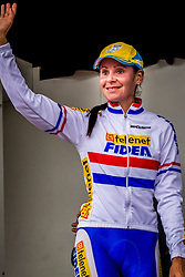 Nikki HARRIS (GBR) of Telenet Fidea on the podium - Valkenburg, Netherlands - 20th October 2013 - Photo by Thomas van Bracht / Peloton Photos