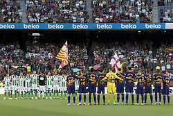 August 20, 2017 - Barcelona, Catalonia, Spain - Minute of silence for Barcelona terror attack during the spanish league match between the FC Barcelona and the Real Betis in the Camp Nou Stadium in Barcelona, Spain on August 20, 2017  (Credit Image: © Miquel Llop/NurPhoto via ZUMA Press)