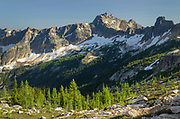 View of Cutthroat Peak and subalpine larches from Cutthroat Pass near the Pacific Crest trail. North Cascades Washington.