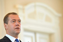 27.07.2015, Ljubljana, SLO, Staatsbesuch von Russlands Ministerpräsident Dmitri Medwedew in Slovenien, geminsame Pressekonferenz, im Bild Russlands Ministerpräsidenten Dmitri Medwedew // during the vistit of Russian Prime Minister Medvedev in Slovenia. Trade sanctions against Russia introduced European Union affected the economic exchange of Slovenia and Russia, and their elimination would be in everyone's interest, said at a press conference in Ljubljana after exchanging views with Slovenian Prime Minister Miro Cerar and Russian Prime Minister Dmitry Medvedev. Ljubljana, Slovenia on 2015/07/27. EXPA Pictures © 2015, PhotoCredit: EXPA/ Pixsell/ Ziga Zivulovic<br /> <br /> *****ATTENTION - for AUT, SLO, SUI, SWE, ITA, FRA only*****