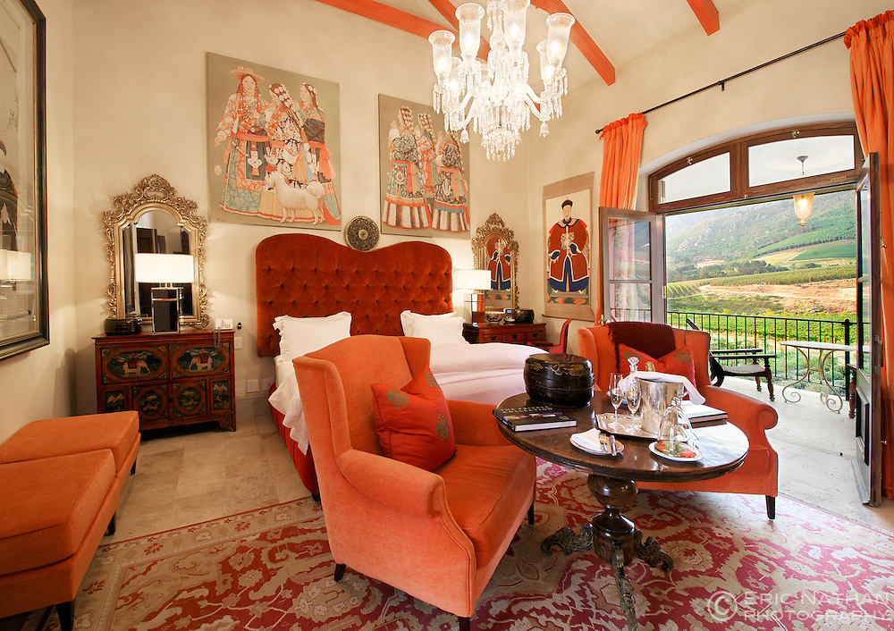 Interior of the Tibetan suite in La Residence in Franschhoek, Western Cape Province, South Africa.