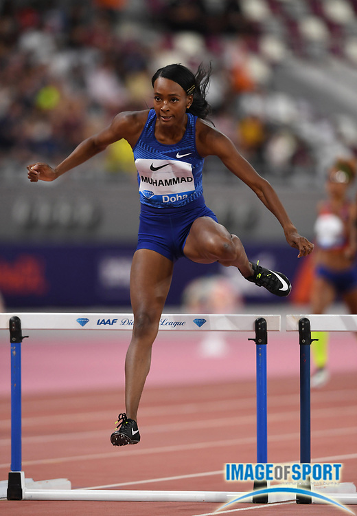 Dalilah Muhammad (USA) wins the women's 400m hurdles  in 53.61 during the IAAF Doha Diamond League 2019 at Khalifa International Stadium, Friday, May 3, 2019, in Doha, Qatar