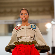 11.05. 2017.                                                 <br /> A model wears designs by Imelda Hoare, titled by Keep her In By The Bank at Limerick School of Art & Design, LIT, the LSAD 360°Fashion Show, sponsored by AIB. Picture: Alan Place