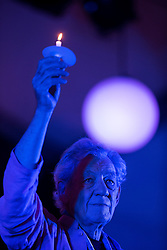© Licensed to London News Pictures . 31/07/2015 . Manchester , UK . SIR IAN McKELLEN leads a candlelit vigil in memory of the victims of HIV and AIDS , in Sackville Gardens in Manchester's Gay Village , closes 2015 Manchester Pride . Photo credit : Joel Goodman/LNP
