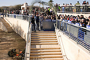 Israel, Jordan River, Near Jericho, Qasr al Yahud. Pilgrims at the site. January 18th 2008. Epiphany, the day of Jesus? baptism, when ?the heavens opened, and he saw the spirit of God descending like a dove and lighting on him.? Celebrated in January by the Greek Orthodox Church. The holy day transforms the area as thousands of pilgrims flock to what is one of the most sacred and least visited places in Israel.