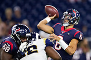 HOUSTON, TX - AUGUST 29:  Jordan Ta'amu #6 of the Houston Texans throws a pass during a game against the Los Angeles Rams during week four of the preseason at NRG Stadium on August 29, 2019 in Houston, Texas. The Rams defeated the Texans 22-10.   (Photo by Wesley Hitt/Getty Images) *** Local Caption *** Jordan Ta'amu