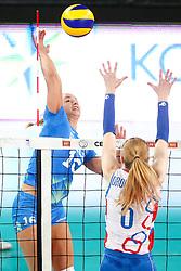 Monika Potokar of Slovenia vs Dominika Drobnakova of Slovakia during volleyball match between Slovenia and Slovakia in CEV European League Women on June 22, 2016 in Stozice, Ljubljana, Slovenia. Photo by Morgan Kristan / Sportida