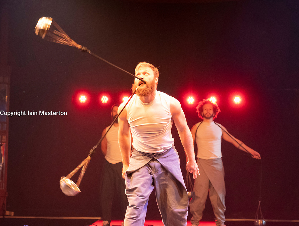 Edinburgh, Scotland, UK; 16 August, 2018. Artists from around the globe gather at The Underbelly Circus Hub to celebrate 250 years of circus.. Pictured; Cirque Alfonse :Tabernak from Canada