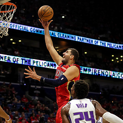 Oct 19, 2018; New Orleans, LA, USA; New Orleans Pelicans forward Nikola Mirotic (3) shoots over Sacramento Kings guard Buddy Hield (24) during the first quarter at the Smoothie King Center. Mandatory Credit: Derick E. Hingle-USA TODAY Sports