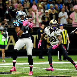 Oct 16, 2016; New Orleans, LA, USA; Carolina Panthers wide receiver Devin Funchess (17) catches a touchdown over New Orleans Saints cornerback B.W. Webb (28) and free safety Vonn Bell (48) during the second quarter of a game at the Mercedes-Benz Superdome. Mandatory Credit: Derick E. Hingle-USA TODAY Sports