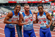 Zharnel Hughes, Richard Kilty, Chijindu Ujah of Great Britain, after their first place finish in the Men's 100m Relay, during the Muller Anniversary Games 2019 at the London Stadium, London, England on 21 July 2019.