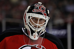 Oct 3, 2009; Newark, NJ, USA; New Jersey Devils goalie Martin Brodeur (30) during the first period of their game against the Philadelphia Flyers at the Prudential Center.