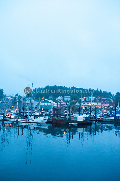 Pre-dawn light illuminates the Sitka, Alaska harbor.