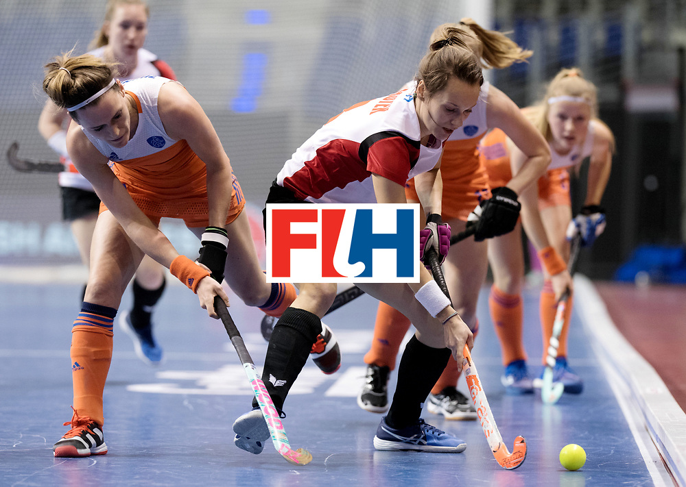 BERLIN - Indoor Hockey World Cup<br /> Women: Poland - Netherlands<br /> foto: Donja Zwinkels and GROTEK Paulina.<br /> WORLDSPORTPICS COPYRIGHT FRANK UIJLENBROEK