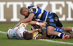 Bath Rugby winger Semesa Rokoduguni scores against Wasps in Aviva Premiership clash at the Recreation Ground - Photo mandatory by-line: Paul Knight/JMP - Mobile: 07966 386802 - 10/01/2015 - SPORT - Rugby - Bath - The Recreation Ground - Bath Rugby v Wasps - Aviva Premiership