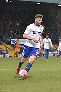 Bury Defender, Joe Riley on the ball leading it out of the box during the The FA Cup fourth round match between Bury and Hull City at Gigg Lane, Bury, England on 30 January 2016. Photo by Mark Pollitt.