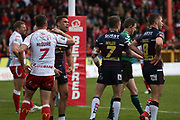 Leeds Rhinos prop forward Adam Cuthbertson (8) scores a try and celebrates  during the Betfred Super League match between Hull Kingston Rovers and Leeds Rhinos at the Lightstream Stadium, Hull, United Kingdom on 29 April 2018. Picture by Mick Atkins.