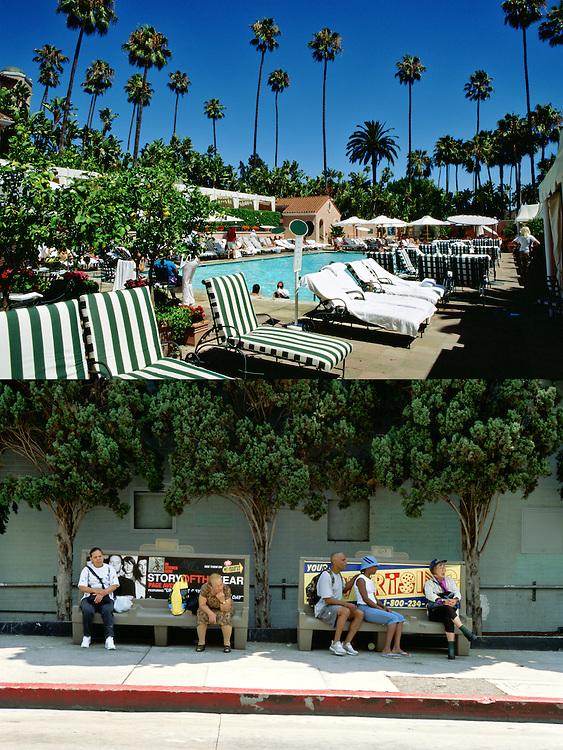 """Tombonas rodeadas de palmeras en la idílica piscina del lujoso """"Beverly Hotel"""" en Beverly Hills..Bancos cercanos a una parada de autobús en una calle de Hollywood."""