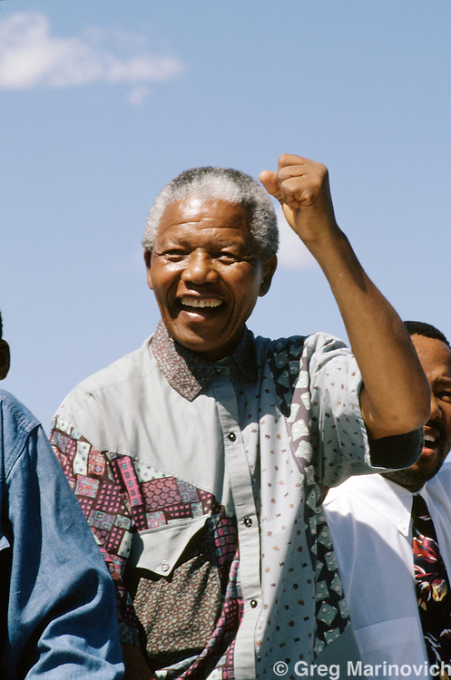 Nelson Mandela, during his campaign tour leading up to the 1994 elections, South Africa, 1994