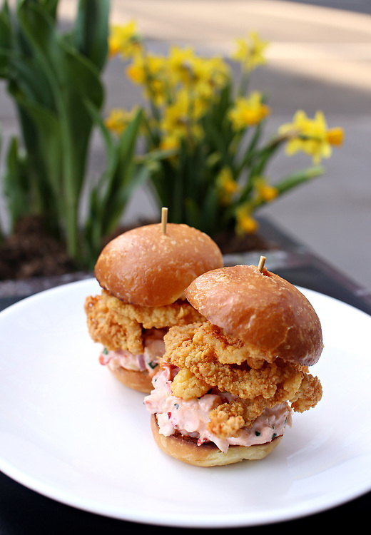 Fried clam and lobster slider. Outside dining at the Clam, 420 Hudson Street, Monday, April 6, 2015. The restaurant features an outdoor oyster happy hour from 4:00 to 6:00pm. (Alexander Cohn for New York Daily News)
