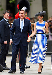 © Licensed to London News Pictures. 10/06/2016. London, UK. British prime minister DAVID CAMERON and his wife SAMANTHA CAMERON arrive. Members of the British Royal Family arrive for a service of thanksgiving to mark the 90th birthday of Queen Elizabeth II, held at St Paul's Cathedral in London. Photo credit: Ben Cawthra/LNP