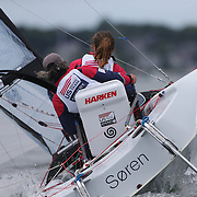 Skipper Sarah Everhart Skeels, (left), Tiverton, RI, and Cindy Walker, Middletown, RI, the only all female team competing in The Skud 18 class, in action during the C. Thomas Clagett, Jr. Memorial Clinic & Regatta at Newport, Rhode Island hosted by Sail Newport at Fort Adams. <br /> The Clagett is North America's premier event for sailors with disabilities with sailors competing in the 3 Paralympic class boats and is an integral part of preparation for athletes preparing for  Paralympic and world championship racing. Newport, Rhode Island, USA. 26th June 2015. Photo Tim Clayton