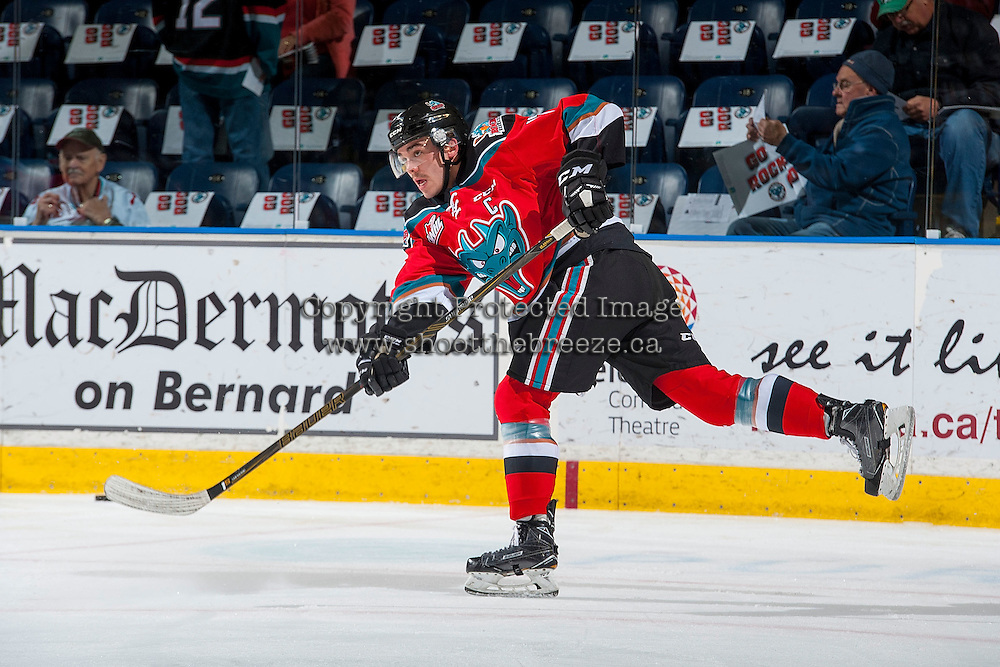 KELOWNA, CANADA - NOVEMBER 26: Rodney Southam #17 of the Kelowna Rockets takes a shot during warm up against the Regina Pats on November 26, 2016 at Prospera Place in Kelowna, British Columbia, Canada.  (Photo by Marissa Baecker/Shoot the Breeze)  *** Local Caption ***