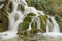 Waterfall in Wir lake, Upper Lakes, Plitvice National Park, Croatia